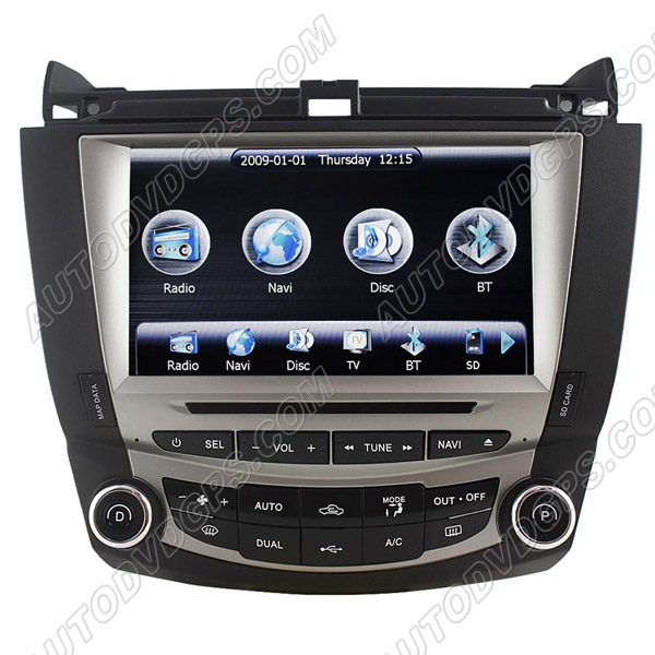 8 Inch Digital HD Touchscreen DVD GPS Navigation System with iPod BT Control for 7th 2003-07 Honda Accord